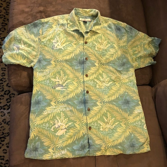 28568e1e Tommy Bahama Green Hula Girl Hawaiian Silk Shirt S.  M_5aaed536caab44649735c6a1
